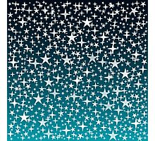 Silver Stars on Dark Blue Sky Background Photographic Print