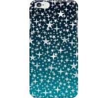 Silver Stars on Dark Blue Sky Background iPhone Case/Skin