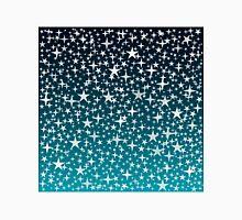Silver Stars on Dark Blue Sky Background Unisex T-Shirt