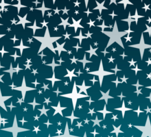 Silver Stars on Dark Blue Sky Background Sticker