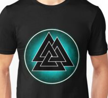 Norse Valknut - Teal and Black Unisex T-Shirt