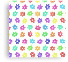 Sketchy Rainbow Flower Pattern on White Background Canvas Print