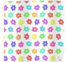 Sketchy Rainbow Flower Pattern on White Background Poster