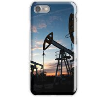 oil pumps on the sunset sky background  iPhone Case/Skin