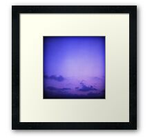 Clouds in sky in blue purple dusk sunset evening in Ibiza summer Hasselblad square medium format film analogue photo Framed Print