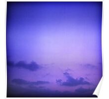Clouds in sky in blue purple dusk sunset evening in Ibiza summer Hasselblad square medium format film analogue photo Poster