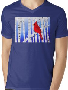 Winter Cardinal Mens V-Neck T-Shirt
