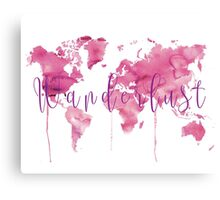 World map in pink Canvas Print
