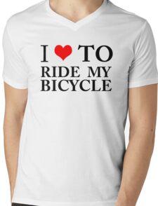 I Love To Ride My Bicycle GREEN ECO ENVIRONMENT WIGGINS CYCLING BIKING Mens V-Neck T-Shirt