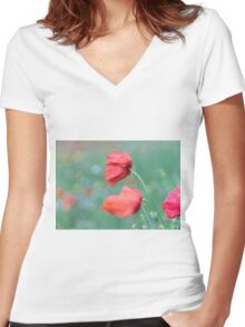 Poppies in the wind Women's Fitted V-Neck T-Shirt