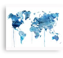 warld map in blue Canvas Print