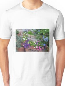 Colorful flowers in flower pots Unisex T-Shirt
