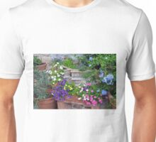 Colorful flowers in flower pots Unisex T-Shirt