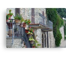 Colorful flowers in flower pots in Assisi Canvas Print