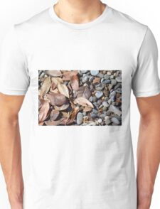 Dry leaves on the ground on pebbles Unisex T-Shirt