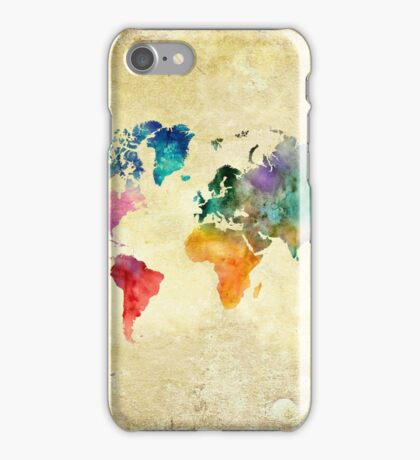 Vintage watercolor map of the world iPhone Case/Skin