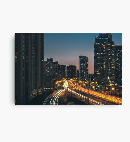 Toronto Road At Night Canvas Print