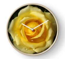 Yellow rose with raindrops Clock