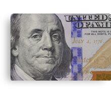 Franklin portrait on banknote Canvas Print