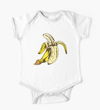 illustration of half peeled banana One Piece - Short Sleeve
