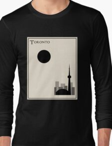 Toronto Minimalist Travel Poster - Beige Version Long Sleeve T-Shirt