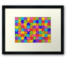 Funny Colorful Jigsaw Solved Puzzle Pieces Framed Print