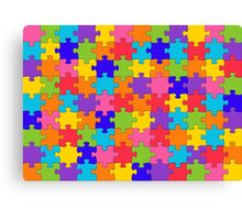 Funny Colorful Jigsaw Solved Puzzle Pieces Canvas Print