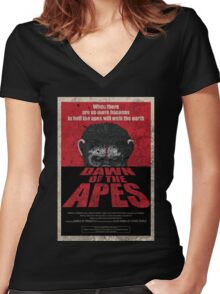 Dawn of the Apes poster parody Women's Fitted V-Neck T-Shirt