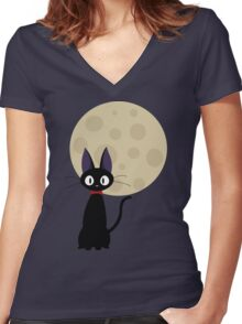 Jiji the Cat Women's Fitted V-Neck T-Shirt