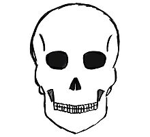 Large Skull Stetch (Black Outline) Photographic Print