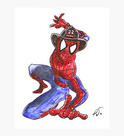 Firefighter Spider-Man Photographic Print