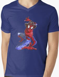 Firefighter Spider-Man Mens V-Neck T-Shirt