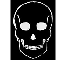 Small Skull Sketch (White Outline) Photographic Print