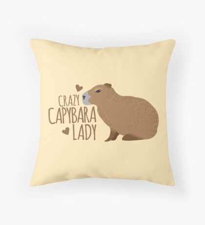 Crazy Capybara lady Throw Pillow