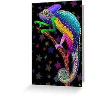 Chameleon Fantasy Rainbow Colors Greeting Card