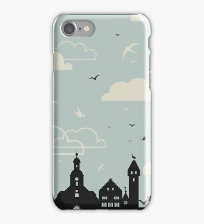 Birds over a city iPhone Case/Skin