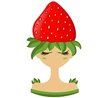 Strawberry character vector illustration Photographic Print