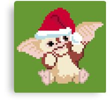 Christmas Gizmo Gremlins - 8 bit, Pixel, Block, Geometric, Red, Green, White, Xmas, Holiday, Happy, Merry, Bright, Santa, Hat    Canvas Print