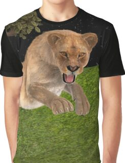 Female Lion Hunting Graphic T-Shirt