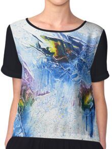 Blue, purple and yellow abstract Chiffon Top