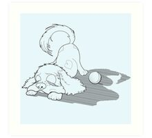 Sleeping Puppy Cocker Spaniel with Ball Art Print