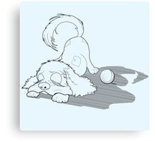 Sleeping Puppy Cocker Spaniel with Ball Canvas Print