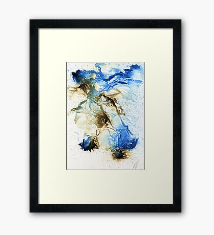 Brown and blue abstract Framed Print