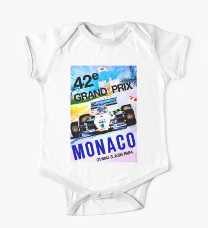 MONACO; Vintage Grand Prix Auto Print One Piece - Short Sleeve