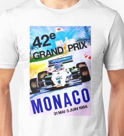 MONACO; Vintage Grand Prix Auto Print Unisex T-Shirt