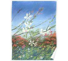 "Wildflowers blue horizon"" Pastel painting, Drawing Art Poster"