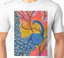 Majestic Peacock colorful textured art Unisex T-Shirt