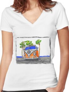 Vw bus Women's Fitted V-Neck T-Shirt