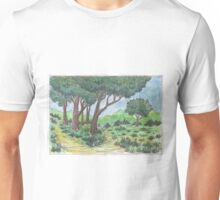 Crossroads in the forest Unisex T-Shirt
