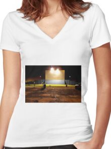 Drive in Theater Women's Fitted V-Neck T-Shirt